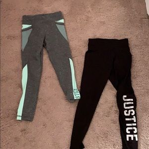 set of TWO justice leggings!